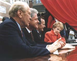 Nancy Reagan attending the presidents' summit for America's future, with former Presidents Gerald Ford and George Bush, in Philadelphia, PA, April 28.