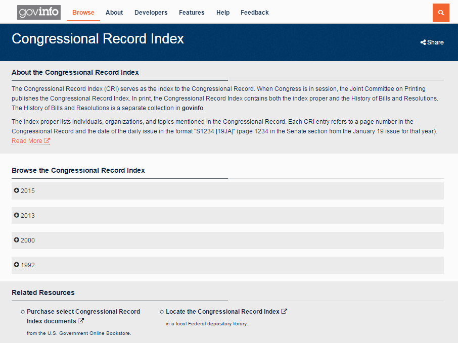 Browse the Congressional Record Index.
