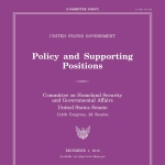 "2016 United States Policy and Supporting Positions, or the ""The Plum Book"""