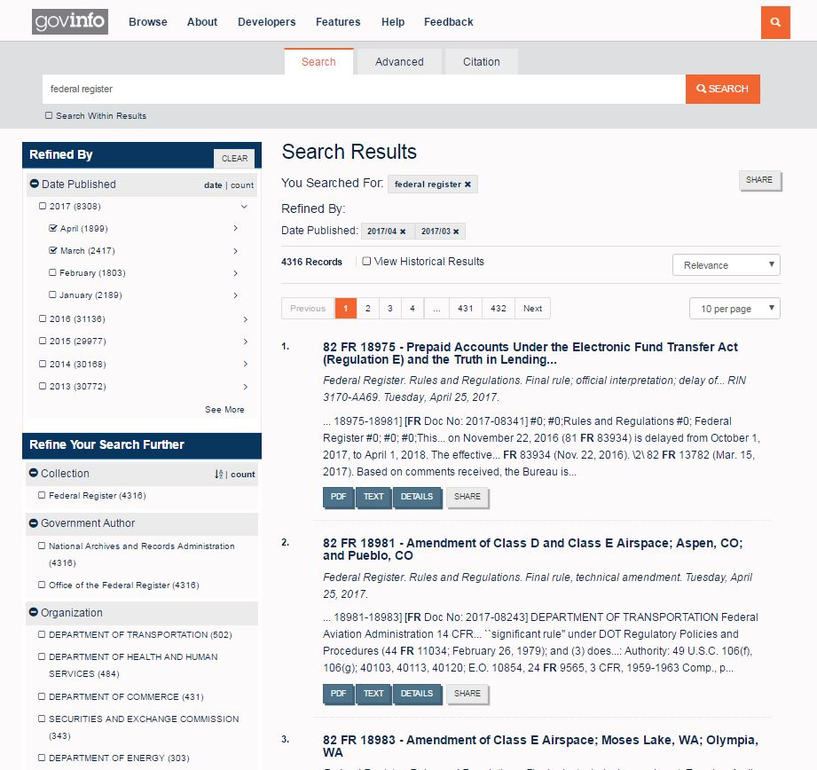 Screenshot of a Search Results Page