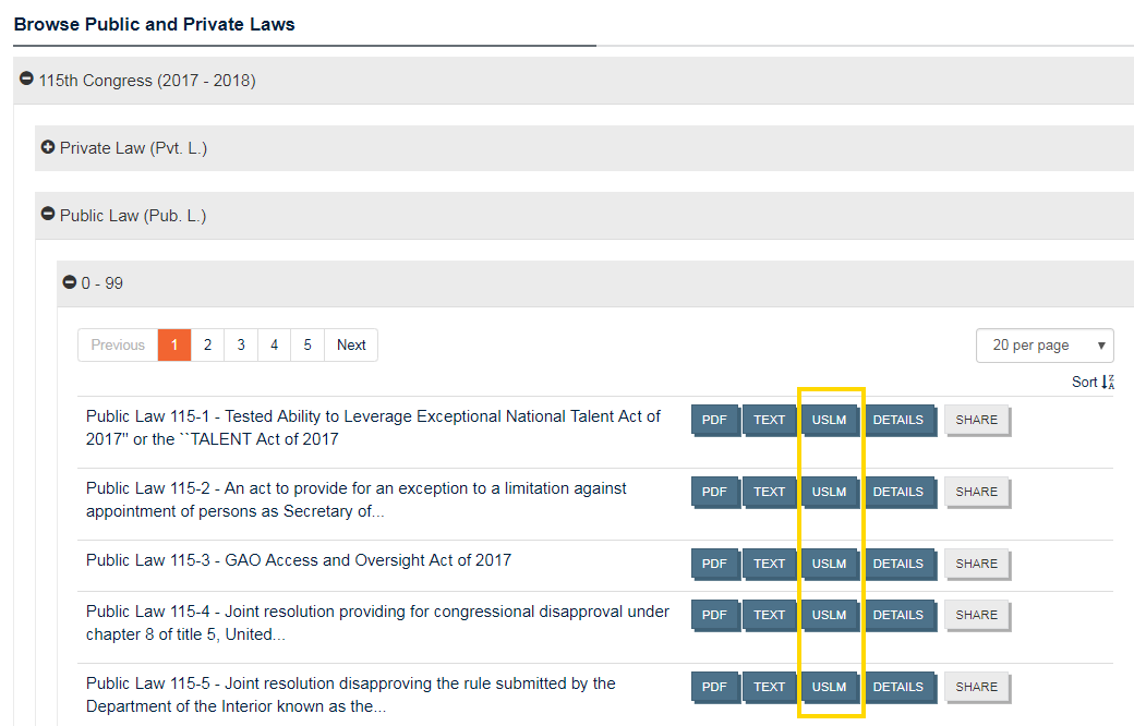 Screenshot of Public and Private Laws browse page with USLM download buttons highlighted