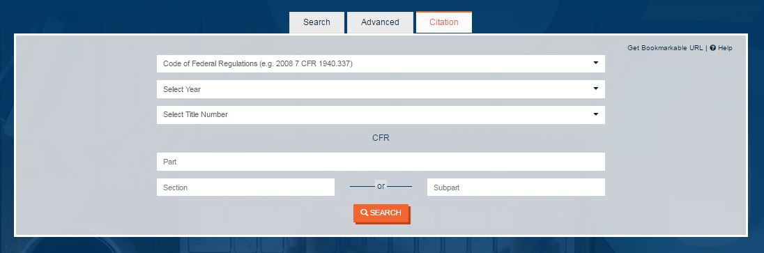 Screenshot of the Citation Search box