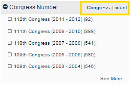 Congress Number filter