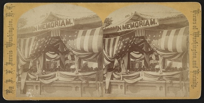 Stereograph of President Ulysses S. Grant and General John Logan seated at the flag-draped Old Amphitheater, Arlington Cemetery, Arlington, Virginia for Decoration Day ceremonies on May 30, 1873, Source: Library of Congress