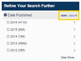 Screenshot of govinfo search result date filters.