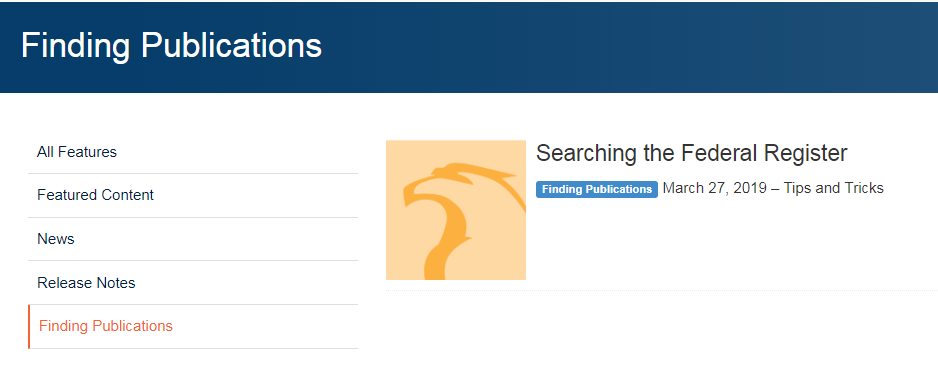 New Finding Publications category of articles
