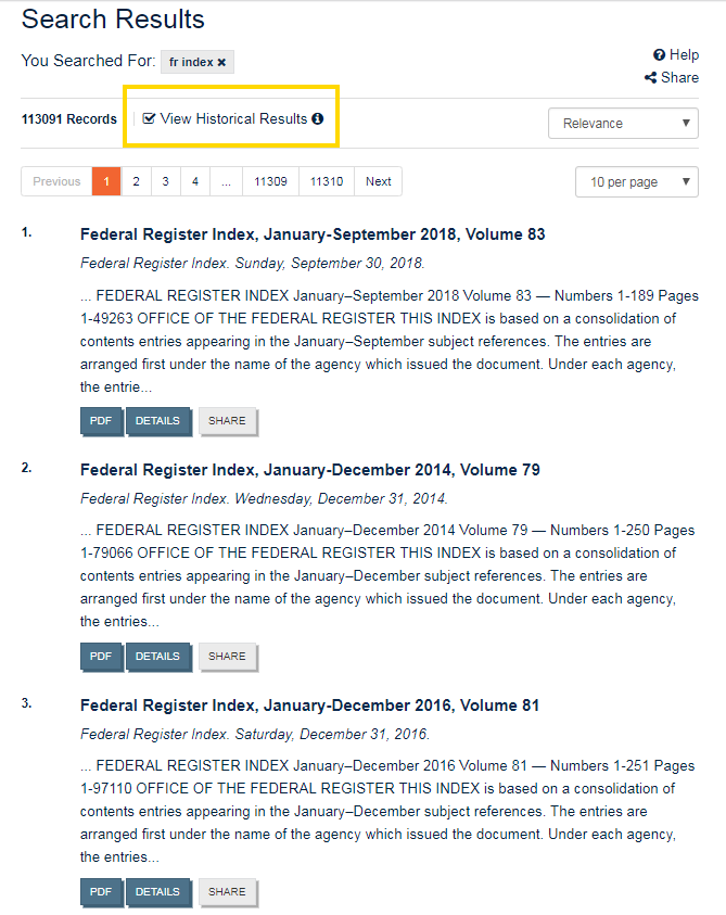 Search of the Federal Register Index with historical editions included