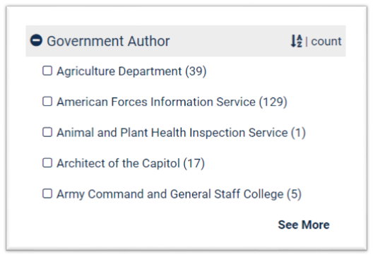Government Author filter after A-Z sorting is selected