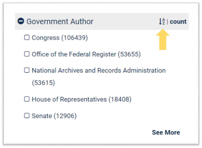 Government Author filter with default sorting