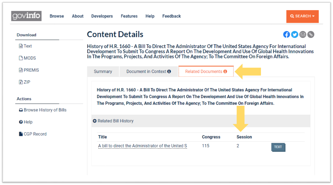 Screenshot of the Related Documents tab of the bill history for H.R. 1660 for the 1st Session of the 115th Congress showing a link to the same bill's history for the 2nd Session