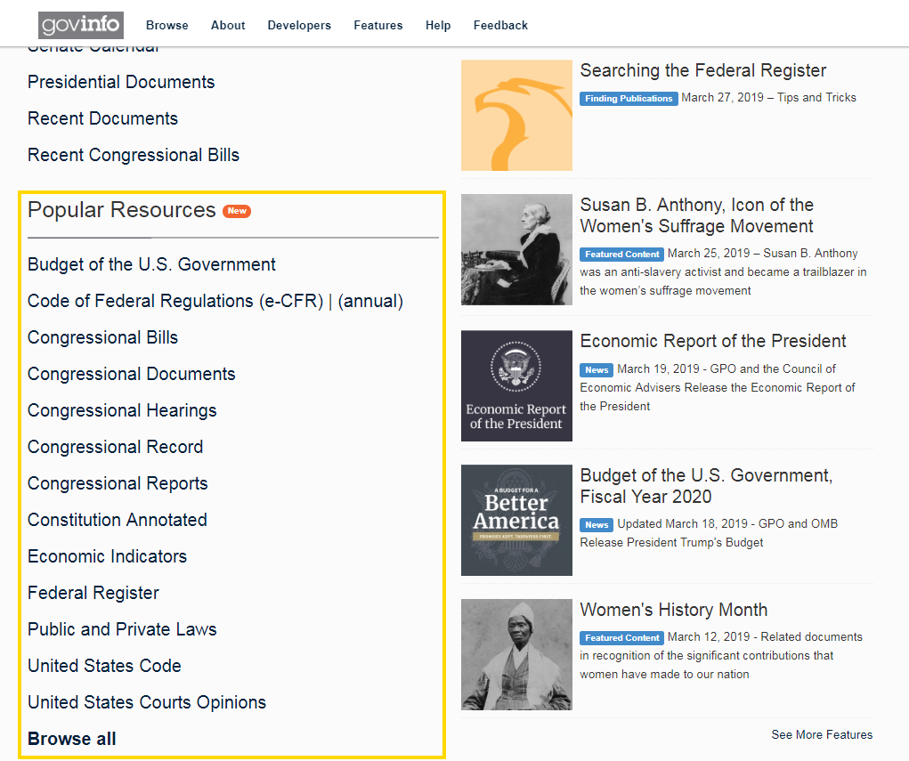 Popular resources featured on the homepage