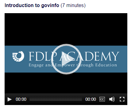 Introduction to govinfo webcast screen