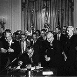 President Johnson signing the Civil Rights Act of 1964