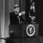 President John F. Kennedy at a press conference