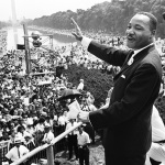 Martin Luther King addressing crowd at March on Washington