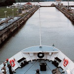 National Oceanic and Atmospheric Administration Ship Researcher passing through the Panama Canal in 1985, Source: NOAA