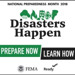 FEMA's 2018 logo with theme: Disasters Happen. Prepare Now. Learn How.