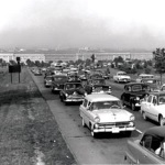 A 1955 pre-interstate photograph showing a highway packed with automobiles with the Pentagon in the background. Source: Federal Highway Administration