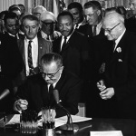 President Johnson signing the voting rights act